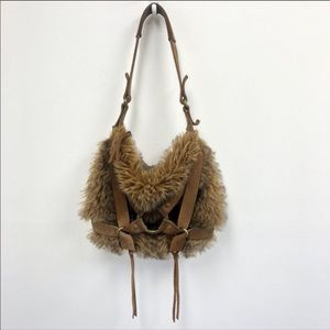 Lucky Brand Brown Faux Fur Leather Shoulder Bag